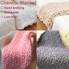 Large Lint-free Washable Handmade Chunky Knitted Blanket Cotton Throw Blankets image