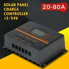 Solar Panel Charge Controller 12 24V LCD USB Charger MPPT PWM Regulator 20 80A