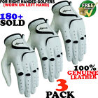 Golf Glove 3 Pack 100% Cabretta Leather Apical Free Fast Shipping