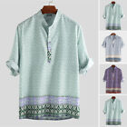 Men's African Floral 3/4 Sleeve Shirts Beach Holiday Party Loose Top Tee Blouse