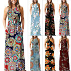 US Women Boho Floral Kaftan Long Maxi Dress Summer Beach Evening Party Sundress
