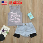 2Pcs Toddler Kids Baby Girls Letter Tops T-Shirt+Denim Shorts Outfit Clothes Set