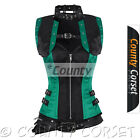 Gothic Steampunk Bolero Overbust Full Steel Bone Black Green Satin Jacket Corset