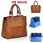 Women Genuine Real Leather Brown Shoulder Bag Vintage Crossbody Tote Handbag USA image