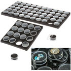 1 Clear Round Gem Stone Display Containers Snap-On Lids Black Foam Filler Jewels