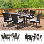 7 Pieces Rattan Dining Set Furniture Garden Tempered Table Cushion Wicker