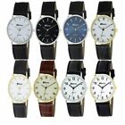Mens Gents Stylish Classic Ravel Quartz Black/Brown Leather Strap Watch