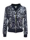 Anna-Kaci Sequin Long Sleeve Front Zip Jacket with Ribbed Cuffs
