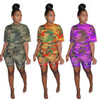 NEW Stylish Women's Short Sleeves O Neck Camouflage Print Casual Jumpsuit 2pcs