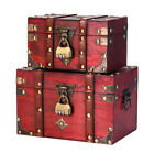 Retro Style Treasure Chest With Lock Vintage Wooden Trinket Storage Jewelry Box