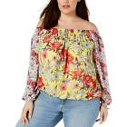 INC Womens Off-The-Shoulder Floral Blouse Top Shirt Plus BHFO 5882 <br/> Guaranteed Authentic  INC Top Sugg. Price:  $79.50