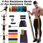 11 Pcs/set Resistance Bands Tube Yoga Workout Exercise Fitness Band For Gym Home image