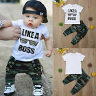 Kyпить Toddler Kids Baby Boy Cute Outfits Short Sleeve T-Shirt Top+Pants Clothes Set на еВаy.соm
