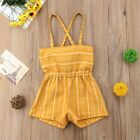 Baby Girls Kids Striped Rompers Suspender Pants Shorts Jumpsuit Playsuit Overall