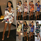 US Womens Satin Floral Mini Beach Sundress Casual Evening Party Dress For Summer
