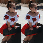 FixedPricetoddler kids baby girls off shoulder top mini skirt dress outfits set clothes us