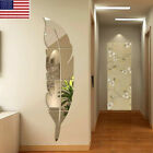 3d Diy Removable Feather Mirror Decal Vinyl Art Stickers Home Room Wall Decor