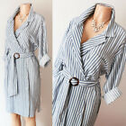 Kyпить NEW Zara Basic Blue White Stripe Belted Wrap Button Down Long Sleeve Shirt Dress на еВаy.соm