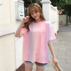 Lady Mesh T-shirt Tops Rainbow Color Gradient Top Tee Embroidered Harajuku Cute