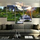 Natural Mountain Waterfall 5 PCs Canvas Printed Wall Poster Picture Home Decor