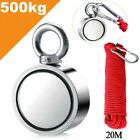 500kg Double-Sided Round Recovery Salvage Neodymium Fishing Magnet 20M Rope New