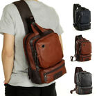 Men's Tactical Sling Chest Shoulder Pu Leather Backpack Satchel Bag Day Pack Us