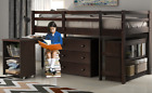 Twin Loft Bed, Pine Wood Bed Frame with Storage, Ladders and Guard Rails