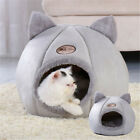 Grey Large Cat Bed Cave Small Wool Cozy Pet Igloo Bed Winter Nest Kennel House