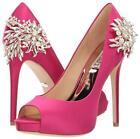 Badgley Mischka MARCIA Satin Pump Crystal Embellished Heel Pink 5 $265 New