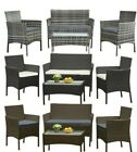 Garden 4 Piece Patio Rattan Wicker Furniture Set Table & Sofa Beige/grey Cushion