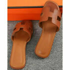 Women Oran Flat Beach Sandals Slippers Ladies Leather Sandals Slip On Sliders UK