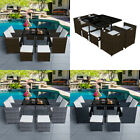 Garden 9 Pieces Rattan Cube Dining Table Set 8 Seaters Patio Outdoor Furniture