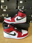 Nike Air Jordan 1 Mid Men's Basketball Shoes - White/Gym Red/Black, US 8-13