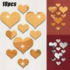 Love Shape Heart Mirror Tiles Wall Sticker Stick Decal Home Bedroom Decor 10pcs