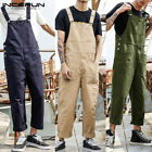 Men's Cargo Loose Dungarees Bib Trousers Carpenter Overalls Jumpsuits Playsuits