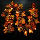 Halloween Pine Cone Maple Leaf Rattan Wreath Door Hanging Decor (1.8M LED String