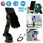 Qi Wireless Fast Charging Car Charger Mount Holder Stand 2 in 1 For Phone US