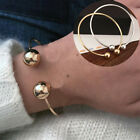 Women Open Cuffs Bangle Bracelet Screw-end Ball Fit European Charms Jewelry Ca