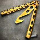 GOLD Butterfly Balisong Trainer Knife Training Dull Blade Stainless Practice NEW