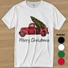 New Red Truck with Merry Christmas Tree Vintage Graphic Men's T-Shirt Xmas Gift