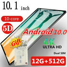 "2020 Android 10.0 HD 8G/12G+512G 10.1"" Tablet PC Google WiFi&Dual SIM Bundle Lot"