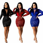 NEW Stylish Women Long Sleeves Sequin Zipper Patchwork Bodycon Dress Club Party