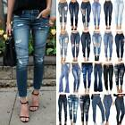 Womens High Waisted Holiday Ripped Denim Pants Slim Fit Jeans Stretchy Trousers
