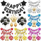 Confetti Latex Balloons Happy Birthday Banner Star Crown Party Balloons Set