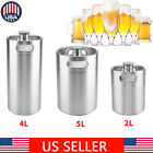 2/5L Mini Keg Beer Growler Stainless Steel Barrel Bottle With Spiral Cover Lid