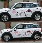 2pc Cute Kitty Cat Graphic Hood Side Door Car Body Vinyl Decal Sticker Red Pink