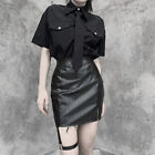 Gothic Lady Faux Crozzling Leather Skirt Slit Slim Mini Punk Straight Fit Skirts