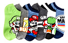 SUPER MARIO BROS. LUIGI YOSHI TOAD 6-Pack Low Cut No Show Socks Kids Ages 4-16