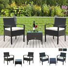 3 Pieces Rattan Set Furniture Garden Cushion Bistro Wicker Black Brown Patio
