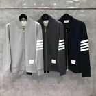THOM BROWNE Mens Womens Sport zipper jacket coat Casual Sweatshirt Loose coat